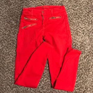 J Brand Size 25 Red Zippered Pants
